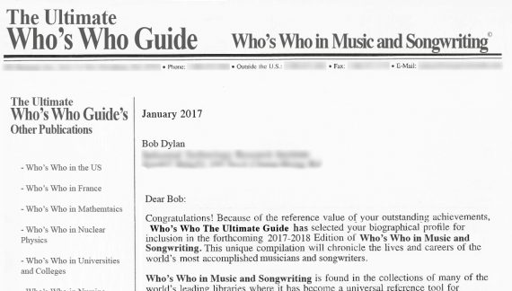 """Bob Dylan To Accept Book From """"Who's Who, The Ultimate Guide"""" In Person"""
