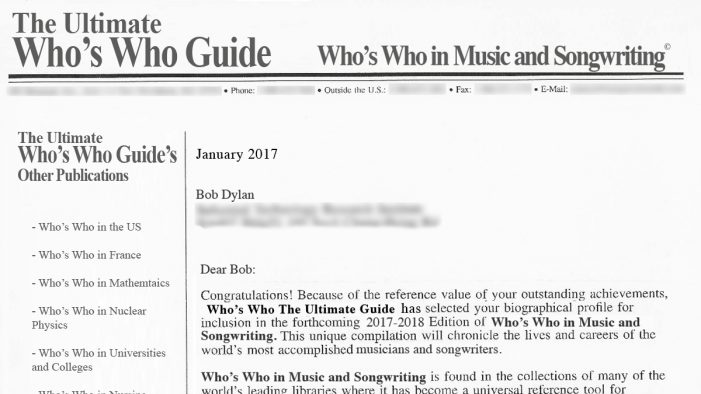 "Bob Dylan To Accept Book From ""Who's Who, The Ultimate Guide"" In Person"