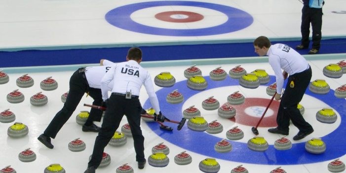 Frustrated Curling Teammate Sends All Those Thingies With The Handles Down At Once