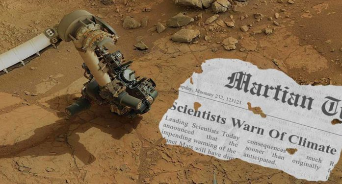 Mars Rover  Finds Newspaper Warning Of Dire Effects Of Climate Change