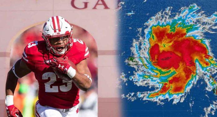 Jonathan Taylor Exits Tampa Stadium Runs Over Hurricane Dorian