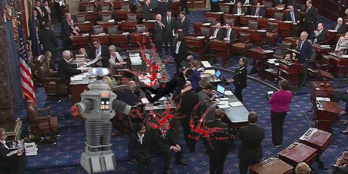 "Deranged Robot Yelling ""Danger, Danger"" Attacks Senate, Frightening Gallery"