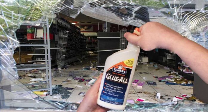 Following Chauvin Verdict, Rioters Begin Difficult Work Of Gluing Windows Back Together